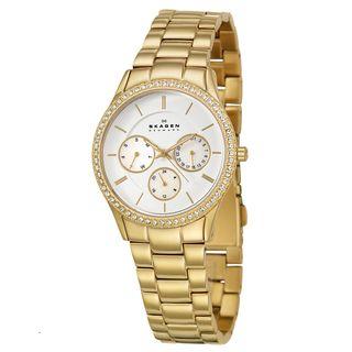 Skagen Womens Glitz Yellow Goldplated Stainless Steel Crystal Watch