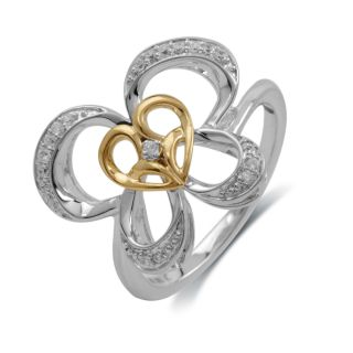 Jessica Simpson Silver and 10K Gold 1/10ct TDW Diamond Butterfly Ring