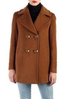 Phistic Womens Cashmere Blend A Line Pea Coat   Pecan 4