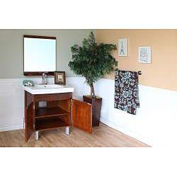 Walnut 31.5 inch Birch Wood Single Bathroom Vanity and Sink