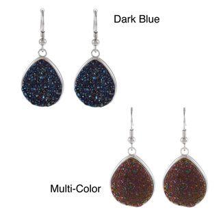 La Preciosa Sterling Silver Pear cut Druzy Earrings