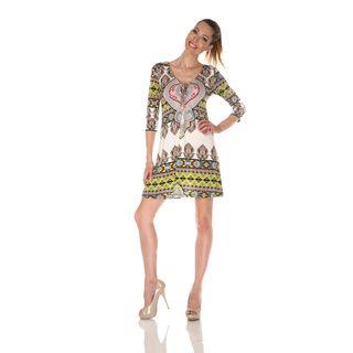 White Mark Womens Monte Carlo Ivory/ Yellow Mix Print Dress