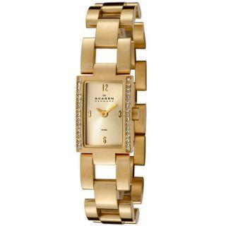 Skagen Womens Goldtone Stainless Steel Crystal Watch