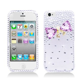 BasAcc Diamonds with 3D Crystal Bow Tie Case for Apple iPhone 5