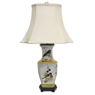 Secret Garden Bird Design Hex Table Lamp