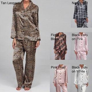 Alexander Del Rossa Womens Printed Satin Pajama Set