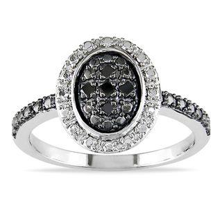 Miadora Sterling Silver Black Diamond Accent Ring