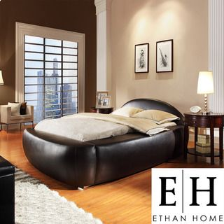 ETHAN HOME Yorkshire Black Bonded Leather Full Bed
