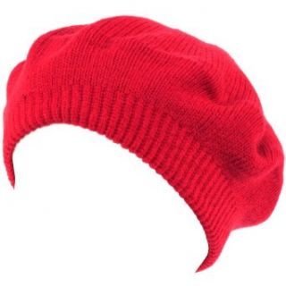 Solid Soft Beret Tam Tight 2ply Knit Winter Hat Red