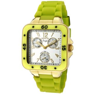 Invicta Womens Angel Light Silver Dial Neon Green Rubber Watch