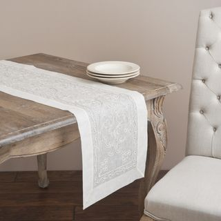 Saro 72 inch Rectangular Cord Embroidery Table Runner