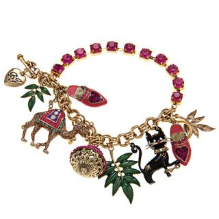 Betsey Johnson Camel Cat Toggle Charm Bracelet