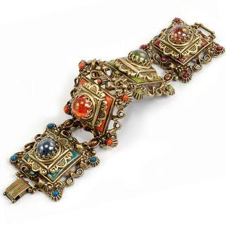 Sweet Romance Bronzetone Glass Stone Desert Colors Link Bracelet