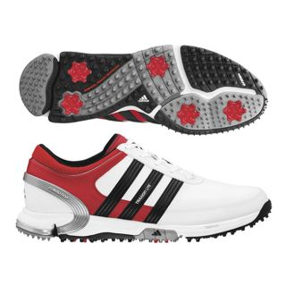 Adidas Mens Traxion Lite FM White/ Red/ Black Golf Shoes