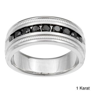 Sterling Silver Mens 1/2 or 1ct TDW Black Diamond Band