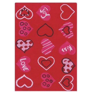 Hand carved Alexa Kids Valentine Heart Love Red Wool Rug (36 x 56