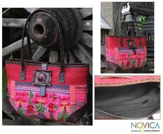 Cotton Leather Pheasant Romance Medium Shoulder Bag (Thailand