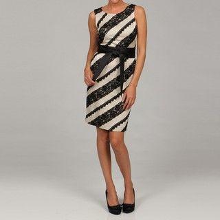 Tahari Womens Taupe/ Black Lace Detail Dress