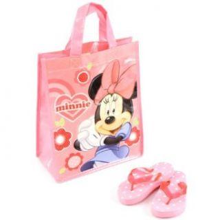 Girls Kids Summer Beach Bag Flip Flops Disney Minnie Mouse