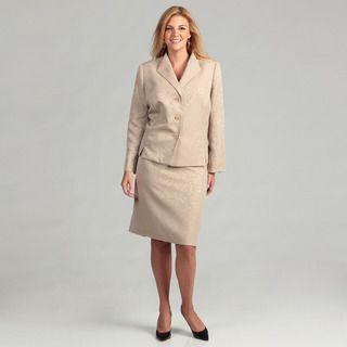 Evan Picone Womens Champagne 2 piece Plus Skirt Suit