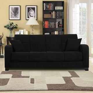 Craig Black Microfiber Convert a Couch Futon Sofa Sleeper