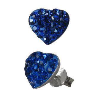 Sterling Silver Blue Crystal Heart shaped Stud Earrings