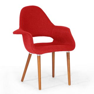 Baxton Studio Forza Red Fabric Mid Century Modern Arm Chairs (Set of