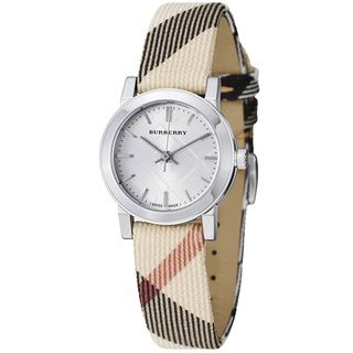 Burberry Womens Large Check Silver Dial Nova Check Strap Watch