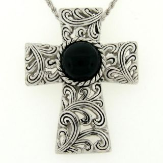 Meredith Leigh Sterling Silver Black Onyx Cross Necklace