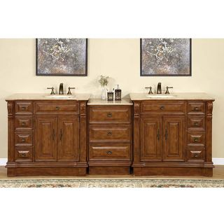 Silkroad Exclusive 95 inch Stone Counter Top Bathroom Vanity Lavatory