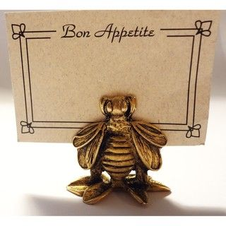 Norma Jean Designs Antique Gold Bumble Bee Place Card Holders Set