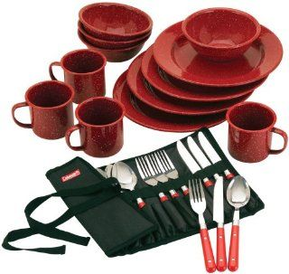 Coleman Speckled Enamelware Dining Kit (Red): Sports
