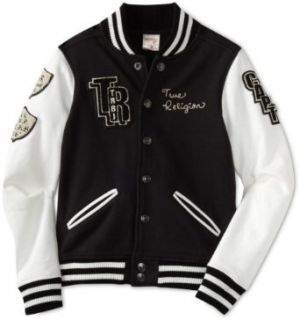 True Religion Boys 2 7 Richie Varsity Jacket, Black, Large
