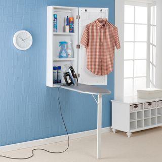Tabla de planchar y centro de almacenamiento para instalar en pared