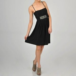 One By Eight Womens Black Beaded Party Dress