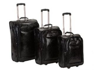 Rockland Luggage Crocodile Style 3 Piece Luggage Set