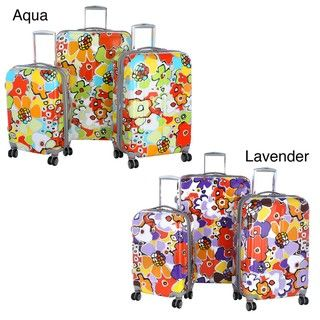 Olympia Blossom 3 piece Fashion Hardside Spinner Luggage Set