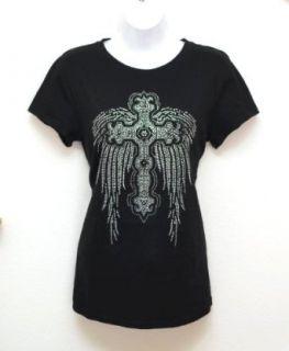 Cross Black Angel Wings Rhinestones Black T Shirts