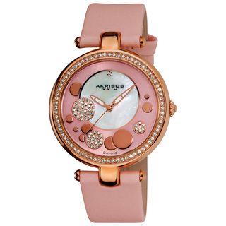 Akribos XXIV Womens Pink Sunray/ Diamond Dial Quartz Strap Watch