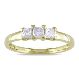 Miadora 10k Yellow Gold 1/2ct TDW Diamond 3 stone Ring (H I, I2 I3