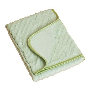 Saro Green Raised Dots Plush Baby Blanket