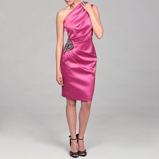 Eliza J Womens Fuchsia Ruched Beaded Dress