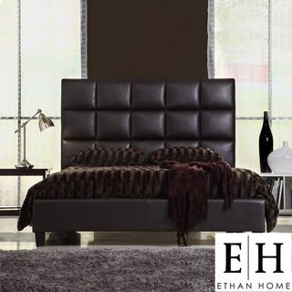 ETHAN HOME Sarajevo King Sized Dark Brown Faux Leather Bed