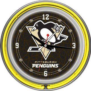 NHL Pittsburgh Penguins Neon Clock   14 inch Diameter