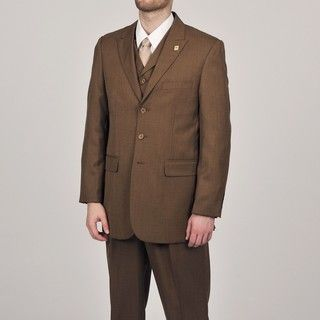 Stacy Adams Mens Rust 3 button Vested Suit