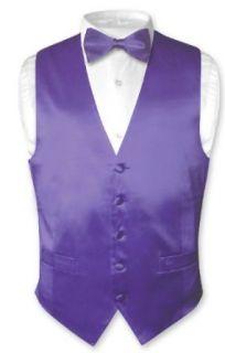 Biagio Mens Solid PURPLE SILK Dress Vest Bow Tie Set for