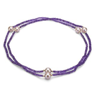 DaVonna 14k Gold Amethyst/ Pink FW 11 12mm Pearl Necklace (36 in) with