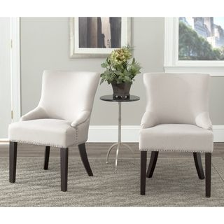 Loire Beige Linen Nailhead Dining Chairs (Set of 2)