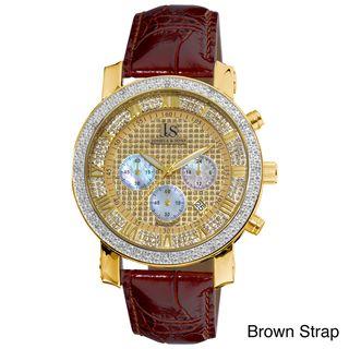 Joshua & Sons Mens Diamond Chronograph Strap Watch