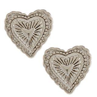 Southwest Moon Silvertone Heart Concho Post Earrings